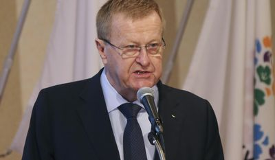 """FILE - In this April 3, 2014 file photo, International Olympic Committee Vice President John Coates delivers a speech during an  IOC-Tokyo 2020 1st Project Review session in Tokyo in Tokyo. International Olympic Committee Vice President Coates has slammed Rio's preparations for the 2016 Olympics, saying they are """"the worst I have experienced."""" (AP Photo/Koji Sasahara, File)"""