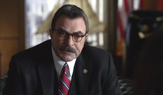 "This screen-grab image released by CBS Entertainment shows Tom Selleck as Frank Reagan in a scene from the series, ""Blue Bloods,"" on Friday, April 11 (10:00-11:00 PM, ET/PT) on the CBS Television Network. (AP Photo/CBS Entertainment)"