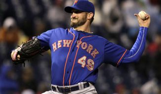 New York Mets starting pitcher Jonathon Niese throws against the Philadelphia Phillies in the first inning of a baseball game Tuesday, April 29, 2014, in Philadelphia. (AP Photo/H. Rumph Jr)