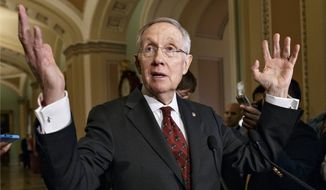 "Senate Majority Leader Harry Reid of Nev. responds to questions about threats he has received that are being investigated by the U.S. Capitol Police, Tuesday, April 29, 2014 during a news conference on Capitol Hill in Washington. Reid says he's received threats mailed to his home that he calls ""ugly, vile, vulgar"" which cite scripture from the Bible. (AP Photo)"