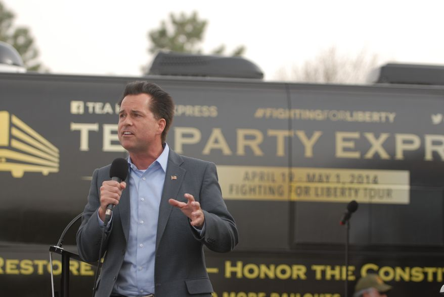Milton Wolf, a Republican candidate for the U.S. Senate in Kansas, speaking to a Tea Party Express rally in Wichita, Kansas, on Sunday, April 27. Photo by Judson Phillips