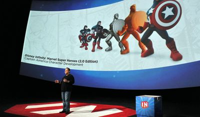 Marvel Chief Creative Officer Joe Quesada speaks at Disney Infinity 2.0 launch at Pacific Theatres Cinerama Dome on Wednesday, April 30, 2014 in the Hollywood section of Los Angeles. (Photo by Katy Winn/Invision/AP)