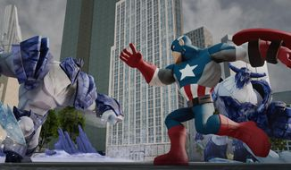 "This photo provided by Disney shows Marvel's The Avengers play set from ""Disney Infinity"" (2.0 edition).  Walt Disney Co. is adding several Marvel superheros to its toys-meets-game series ""Disney Infinity."" The company announced plans on Wednesday, April 30, 2014, to bring such characters as Captain America, Iron Man and Thor to a new installment of the game. (AP Photo/Disney)"