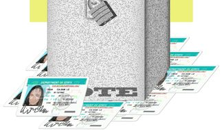Illustration on voter photo IDs by Alexander Hunter/The Washington Times