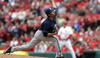 Milwaukee Brewers relief pitcher Wei-Chung Wang throws during the sixth inning of a baseball game against the St. Louis Cardinals Wednesday, April 30, 2014, in St. Louis. (AP Photo/Jeff Roberson)