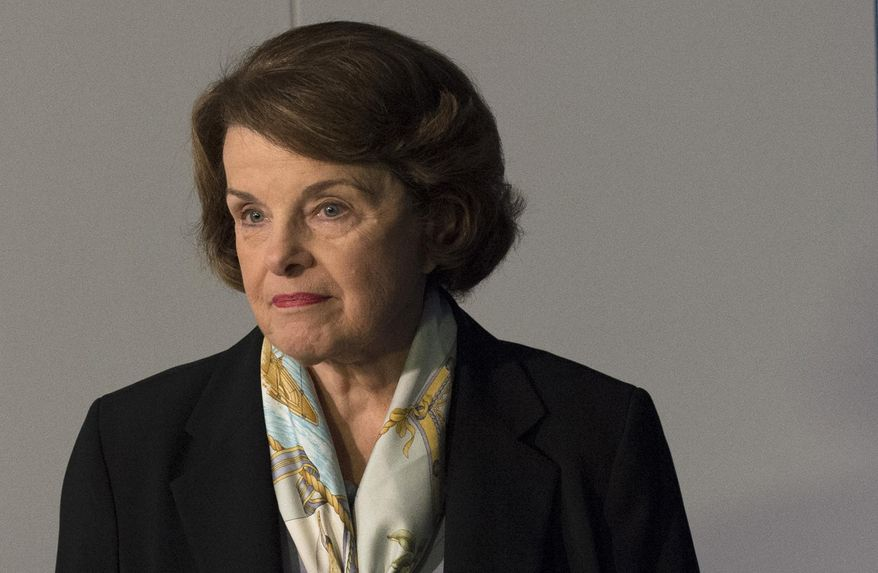 FILE - In this April 3, 2014, file photo, Senate Intelligence Committee Chair Sen. Dianne Feinstein, D-Calif. arrives to make a statement after a closed hearing to examine certain intelligence matters in Washington. The CIA does not give up its secrets easily. Under pressure from a Senate committee to declassify parts of a congressional report on harsh interrogations of suspected terrorists, the CIA is shadowed by its reluctance to open up about its operations and its past. The CIA officials who decide which secrets can be revealed have wrestled with Congress, archivists, journalists, former CIA employees and even a former CIA director.  (AP Photo/Molly Riley, File)