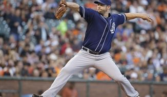 San Diego Padres starting pitcher Eric Stults throws against the San Francisco Giants in the first inning of a baseball game Tuesday, April 29, 2014, in San Francisco. (AP Photo/Eric Risberg)