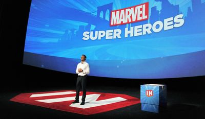 Disney Interactive President Jimmy Pitaro speaks at Disney Infinity 2.0 launch at Pacific Theatres Cinerama Dome on Wednesday, April 30, 2014 in the Hollywood section of Los Angeles.  (Photo by Katy Winn/Invision/AP)