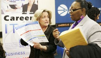 ** FILE ** In this Wednesday, Jan. 22, 2014, file photo, recruiter Valera Kulow, left, speaks with job seeker Monic Spencer during a career fair in Dallas. (AP Photo/LM Otero, File)