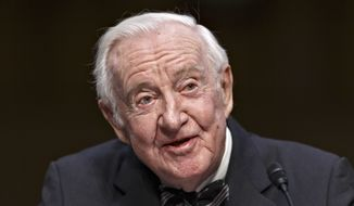 Retired Supreme Court Justice John Paul Stevens testifies on the ever-increasing amount of money spent on elections as he appears before the Senate Rules Committee on Capitol Hill in Washington, Wednesday, April 30, 2014. The panel is examining campaign finance rules which have been eased since 2010 court decisions opened the door for wealthy political action committees that can accept unlimited donations as expressions of political speech.  (AP Photo)
