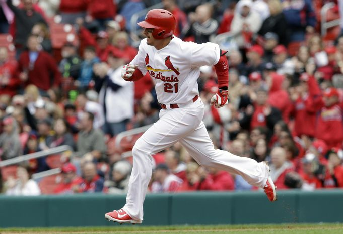 St. Louis Cardinals' Allen Craig heads to second on a two-run double during the fourth inning of a baseball game against the Milwa