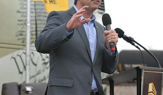 Milton Wolf speaks to a Tea Party rally in Kansas on April 28. Photo by Judson Phillips.