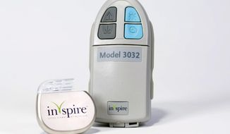 This product image provided by Inspire Medical Systems shows the company's first-of-kind sleep apnea device that keeps airways open by zapping them with an electrical current. The Food and Drug Administration approved the pacemaker-like device for sleep apnea patients who have trouble with the current standard of care: machines that blow air through a bedtime mask. (AP Photo/Inspire Medical Systems)