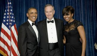 ** FILE ** President Obama and first lady Michelle Obama, pose with Fox News host Bill O'Reilly at the 2013 White House Correspondents Dinner. (Daniel P. Schwartz/White House Correspondents Association)