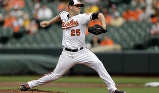 Baltimore Orioles starting pitcher Bud Norris throws to the Pittsburgh Pirates in the first inning in the first baseball game of a doubleheader on Thursday, May 1, 2014, in Baltimore. (AP Photo/Patrick Semansky)