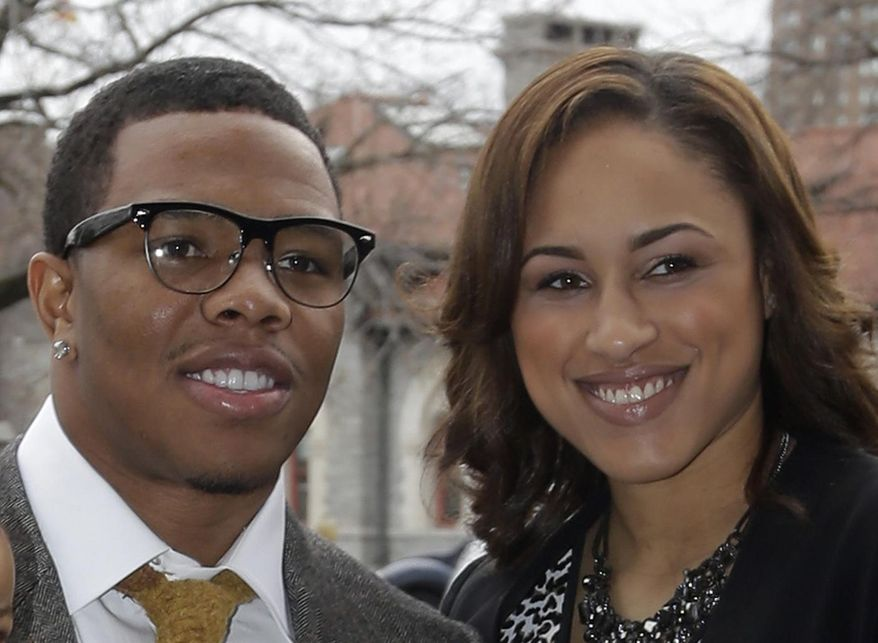 FILE - In this March 11, 2013, file photo, Baltimore Ravens running back Ray Rice, left, stands with Janay Palmer in Baltimore as they arrive for a screening of a new film released on DVD that chronicles the team's championship NFL football season. Rice is due in a New Jersey courtroom Thursday May 1, 2014 to face aggravated assault charges stemming from an incident with his then-girlfriend in an Atlantic City casino elevator. (AP Photo/Patrick Semansky, File)