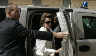 **FILE** U.S. House Speaker Nancy Pelosi walks out of her car as she arrives for a visit at the Hadassah hospital in Jerusalem Sunday, May 18, 2008. The speaker of the U.S. House of Representatives, Rep. Nancy Pelosi, has arrived in Israel at the head of a bipartisan congressional delegation to mark the 60th anniversary of Israel's founding. (Associated Press)