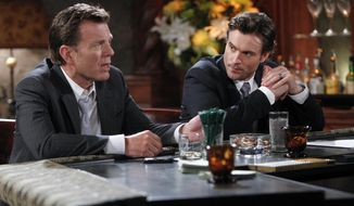 "This image released by CBS shows Peter Bergman, left, and Daniel Goddard in a scene from ""The Young & The Restless."" The daytime drama series is ahead of the pack with 26 Daytime Emmy nominations, including best daytime drama. The television academy announced the nominations on Thursday, May 1, 2014. (AP Photo/CBS, Sonja Flemming)"