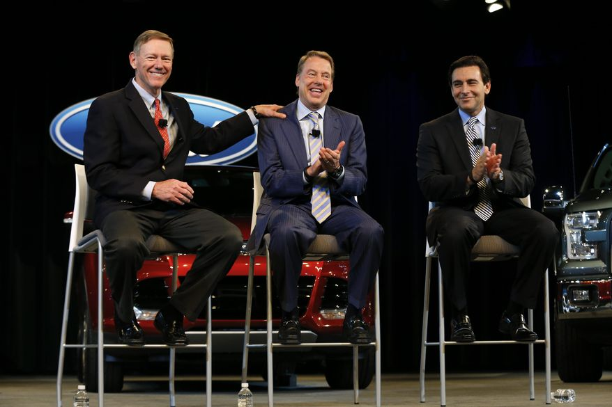 Ford Motor Company President and CEO Alan Mulally, from left, Executive Chairman Bill Ford Jr., and Chief Operating Officer Mark Fields appear during a news conference in Dearborn, Mich., Thursday, May 1, 2014. Ford announced CEO Alan Mulally will retire July 1 and be replaced by Fields. (AP Photo/Paul Sancya)