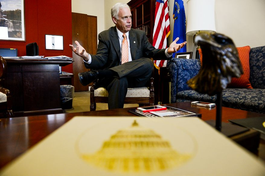 Sen. Ron Johnson (R-Wis.) speaks to the Washington Times Newspaper in his Capitol Hill office, Washington, D.C., Thursday, May 1, 2014. (Andrew Harnik/The Washington Times)