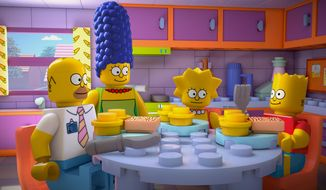 "This image released by FOX shows characters from the animated series, ""The Simpsons,"" from left, Homer, Marge, Lisa and Bart, as Lego figures in episode No. 550, titled, ""Brick Like Me,"" airing Sunday. Using computer-generated special effects, the town of Springfield and its residents have been reimagined in the style of the famed plastic toys.  (AP Photo/Fox)"