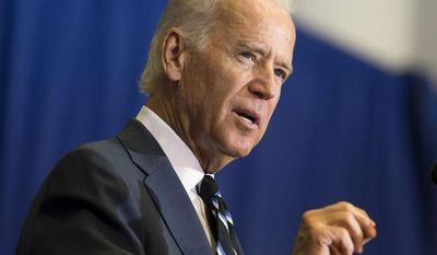 **FILE** Vice President Joseph R. Biden speaks April 28, 2014, about the budget and the economy at George Washington University in Washington. (Associated Press)