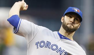 Toronto Blue Jays starting pitcher Brandon Morrow (23) throws against the Pittsburgh Pirates in the first inning of a baseball game on Friday, May 2, 2014, in Pittsburgh. (AP Photo/Keith Srakocic)