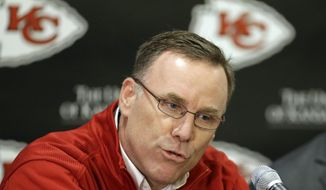 FILE - In this March 13, 2013, file phot,o Kansas City Chiefs general manager John Dorsey speaks during an NFL football news conference at the team's practice facility in Kansas City, Mo. After modest results from his first draft class, Dorsey has just six picks this year, and plenty of holes to fill with them.  (AP Photo/Orlin Wagner, File)