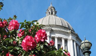 The Washington state Capitol is seen through rhododendrons on a sunny day in Olympia, Wash., on Thursday, May 1, 2014. Temperatures in the state were expected to be in the 80s again during a week where records have already been set in some cities. (AP Photo/Rachel La Corte)