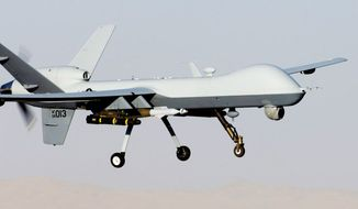 The General Atomics MQ-9 Reaper (formerly named Predator B) is an unmanned aerial vehicle (UAV) capable of remote controlled or autonomous flight operations, developed by General Atomics Aeronautical Systems (GA-ASI) primarily for the United States Air Force. UAVs are also referred to as drones. The MQ-9 and other UAVs are referred to as Remotely Piloted Vehicles/Aircraft (RPV/RPA) by the U.S. Air Force to indicate their human ground controllers. The MQ-9 is the first hunter-killer UAV designed for long-endurance, high-altitude surveillance.