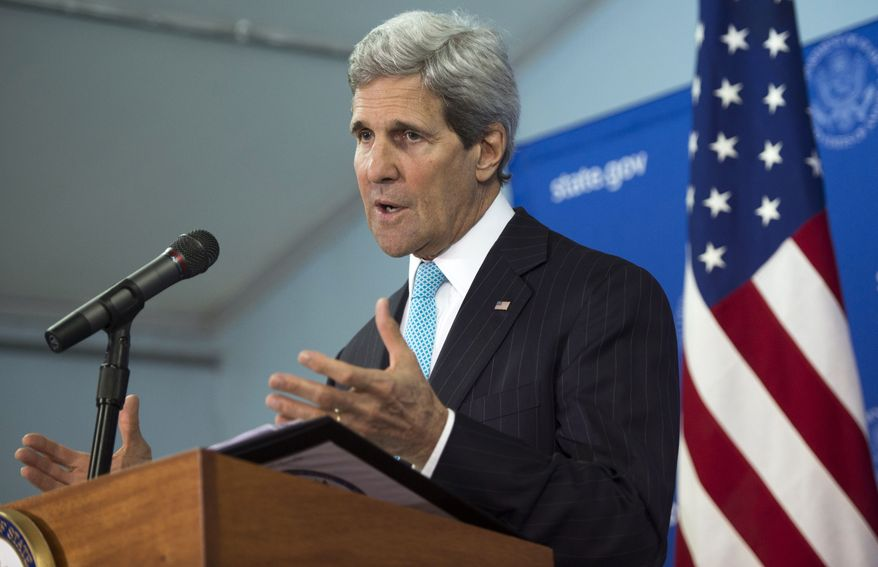 US Secretary of State John Kerry speaks during a press conference at the US embassy in Juba, South Sudan, Friday May 2, 2014. Kerry, landing in the capital Juba on Friday, carried the threat of U.S. sanctions against prominent South Sudanese leaders if the rampant violence doesn't stop. But more than anything, he sought to compel authorities on both sides of the fight to put aside personal and tribal animosities for the good of a nation that declared independence three years ago to escape decades of war. (AP Photo/Saul Loeb, Pool)