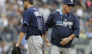 Tampa Bay Rays manager Joe Maddon, right, takes starting pitcher Jake Odorizzi (23) out of the game during the fifth inning of a baseball game against the New York Yankees Saturday, May 3, 2014, in New York. (AP Photo/Frank Franklin II)