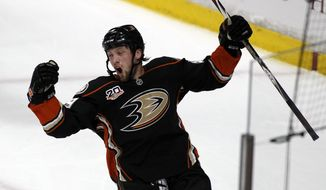 ADDS PERIOD - Anaheim Ducks left wing Matt Beleskey celebrates scoring a goal in the first period against the Los Angeles Kings in Game 1 of an NHL hockey second-round Stanley Cup playoff series in Anaheim, Calif., Saturday, May 3, 2014. (AP Photo/Alex Gallardo)