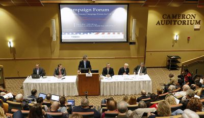 Panel of journalist from left, John Adams of the Great Falls Tribune, Tim McGonigal of KRTV and moderator Rich Ecke, of the Great Falls Tribune, hold a Democratic campaign forum for U.S. Senate with U.S. Sen. John Walsh, former Lt. Governor John Bohlinger and senate candidate Dirk Adams Saturday, May 3, 2014, in the Cameron Auditorium at Benefits Health System, Great Falls, Mont. (AP Photo/The Great Falls Tribune, Larry Beckner)
