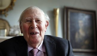 ADVANCE FOR WEEKEND EDITIONS, MAY 3-4 - In this photo taken on Monday, April 28, 2014, Roger Bannister, 85, who as a young man was the first person to break the 4-minute barrier in the mile in 1954, poses during an interview with The Associated Press at his home in Oxford, England. It was on a wet, blustery day, May 6, 1954, that the lanky English medical student became the first runner to break the fabled 4-minute barrier in the mile, a feat that many thought was humanly impossible. (AP Photo/Lefteris Pitarakis)