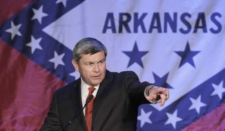 Former Democratic Congressman Mike Ross speaks at a political fund raiser in Little Rock, Ark., Saturday, May 3, 2014. Ross is seeking the Democratic nomination in the race for Arkansas governor. (AP Photo/Danny Johnston)