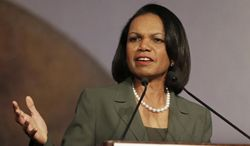 "FILE - In this March 15, 2014 file photo, former Secretary of State Condoleezza Rice peaks at the California Republican Party 2014 Spring Convention in Burlingame, Calif.  Rice has decided against delivering the commencement address at Rutgers University following protests by some faculty and students over her role in the Iraq War. Rice said in a statement Saturday, May 3, 2014 that she informed Rutgers President Robert Barchi that she was declining the invitation. She said her involvement had ""become a distraction for the university community"" at a ""time of joyous celebration for the graduates and their families.""(AP Photo/Ben Margot, File)"