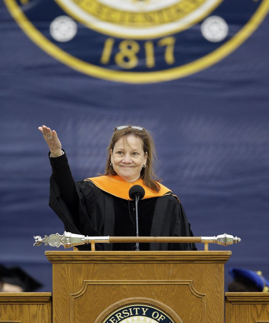 General Motors CEO Mary Barra, addresses the University of Michigan graduates at a commencement ceremony Saturday, May 3, 2014 in Ann Arbor, Mich. Barra, the first woman to lead a major automaker, took the top spot at GM in January, just as a deadly ignition switch problem was starting to surface. Barra urged the students to be honest in every aspect of their lives, and to use their optimism and propensity for inclusion to rethink outdated assumptions and expose and correct injustice. (AP Photo/Carlos Osorio)