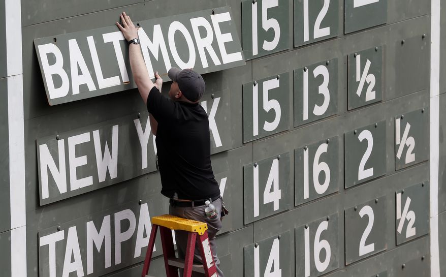 A scorekeeper updates the standings on the scoreboard at Fenway Park before a baseball game between the Boston Red Sox and the Oakland Athletics in Boston, Saturday, May 3, 2014. (AP Photo/Michael Dwyer)
