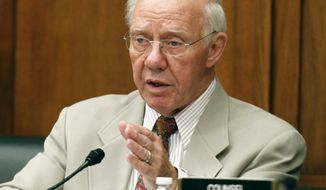 FILE - In a Wednesday, July 14, 2010 file photo, Rep. Jim Oberstar, D-Minn., questions witnesses during a hearing at the Transportation and Infrastructure Subcommittee on Aviation hearing on airline fees on Capitol Hill. Former U.S. Rep. Jim Oberstar, who served northeastern Minnesota for 36 years, died in his sleep Saturday, May 3, 2014, according to a statement from his family. He was 79. (AP Photo/Charles Dharapak, File)