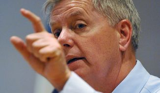 Sen. Lindsey Graham speaks during a campaign stop at American Legion Post 20 on Wednesday, April 23, 2014, in Greenwood, S.C. (AP Photo/Rainier Ehrhardt)