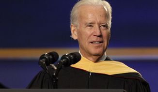 "Vice President Joe Biden speaks during a graduation ceremony at the Miami Dade College in Miami, Saturday, May 3,2014.  Biden said a ""constant, substantial stream of immigrants"" is important to the American economy, urging citizenship for immigrants living in the U.S. illegally.  (AP Photo/Javier Galeano)"