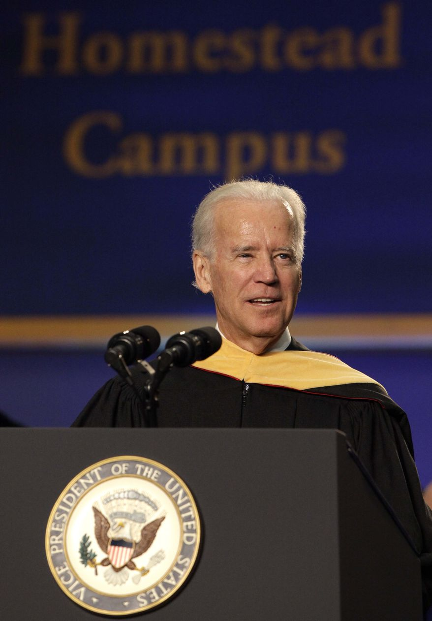 """Vice President Joe Biden speaks during a graduation ceremony at the Miami Dade College in Miami, Saturday, May 3,2014.  Biden said a """"constant, substantial stream of immigrants"""" is important to the American economy, urging citizenship for immigrants living in the U.S. illegally.  (AP Photo/Javier Galeano)"""
