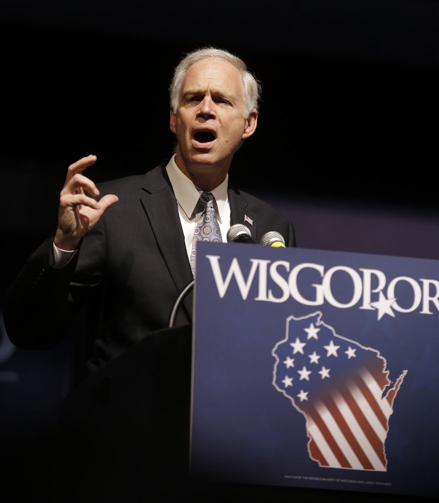 Wisconsin Sen. Ron Johnson, R-Wis., speaks at the Republican party of Wisconsin State Convention Saturday, May 3, 2014, in Milwaukee. (AP Photo/Jeffrey Phelps)