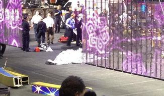 "In a cell phone photo provided by Tara Griggs, emergency workers tend to injured performers after a platform collapsed, Sunday, May 4, 2014, during the Ringling Brothers and Barnum and Bailey Circus' Legends show at the Dunkin' Donuts Center in Providence, R.I. At least nine people were injured in the fall, including a dancer below. Roman Garcia, general manager of the show, said the accident occurred during the ""hair hang"" act in which the performers hang from their hair. (AP Photo/Tara Griggs)"