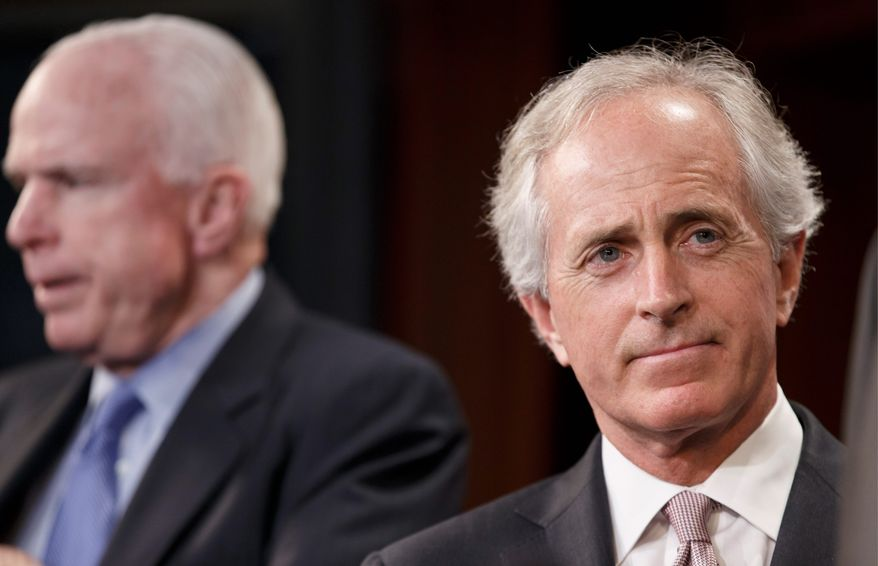 """Sen. Bob Corker, Tennessee Republican, has proposed legislation that would call on President Obama to provide the Ukrainian military with """"direct military assistance."""" (associated press)"""