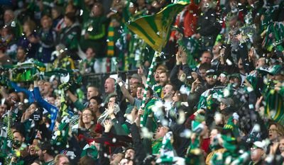 The Timbers Army supports the Portland Timbers on Saturday. May 3, 2014 at Providence Park in Portland. (AP Photo/The Oregonian, Jamie Francis