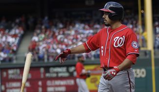 Washington Nationals' Anthony Rendon reacts after striking out in the third inning of a baseball game with the Philadelphia Phillies, Sunday, May 4, 2014, in Philadelphia. (AP Photo/Laurence Kesterson)
