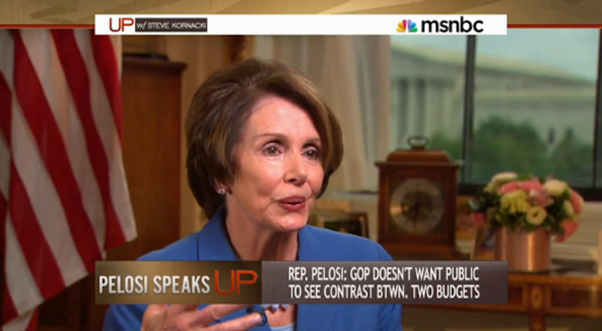 """House minority leader Nancy Pelosi said in an interview broadcast Sunday that criticism by conservative lawmakers against herself and the Obama administration only demonstrates that they are suffering from a """"poverty of ideas."""" (MSNBC)"""