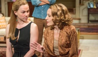 """This image released by Lincoln Center Theater shows, from left, Kristen Bush, Michael Simpson and Jan Maxwell in a scene from """"The City of Conversation,"""" a new play by Anthony Giardina currently performing off-Broadway at the Mitzi E. Newhouse Theater in New York. (AP Photo/Lincoln Center Theater, Stephanie Berger)"""
